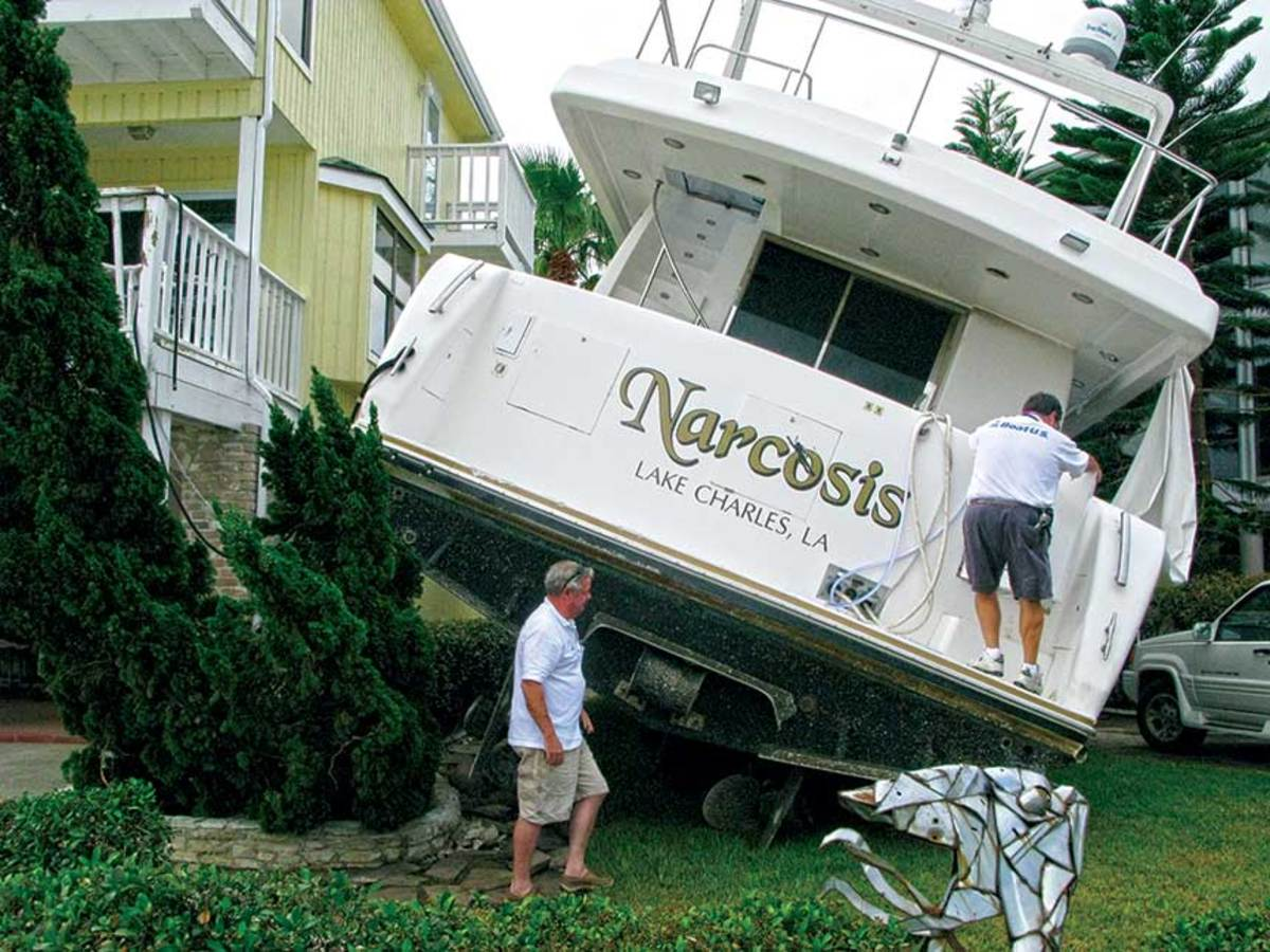 A diplomatic approach is required when a property owner winds up with a boat in his yard.