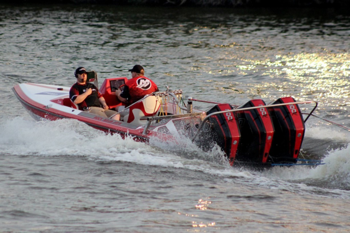The world-record holding towboat has been repowered with triple Mercury Racing 300R outboards. Photo by Jim's Photos.