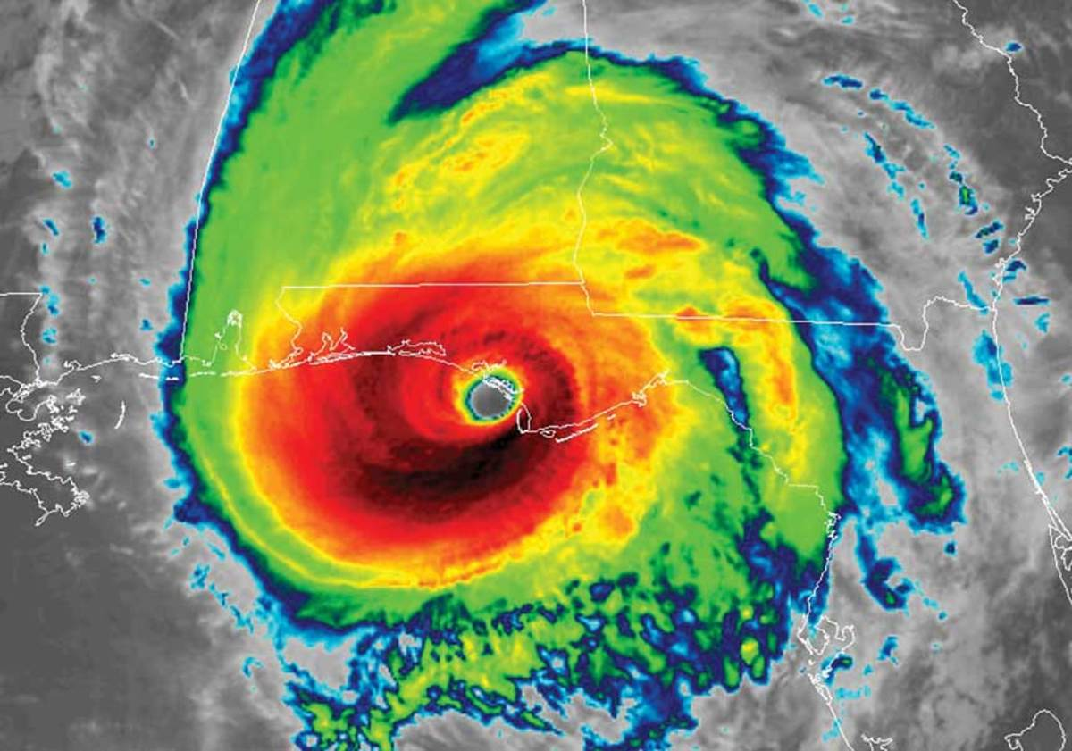 Michael was a Category 5 hurricane, which is indicated by the red around the storm's eye.