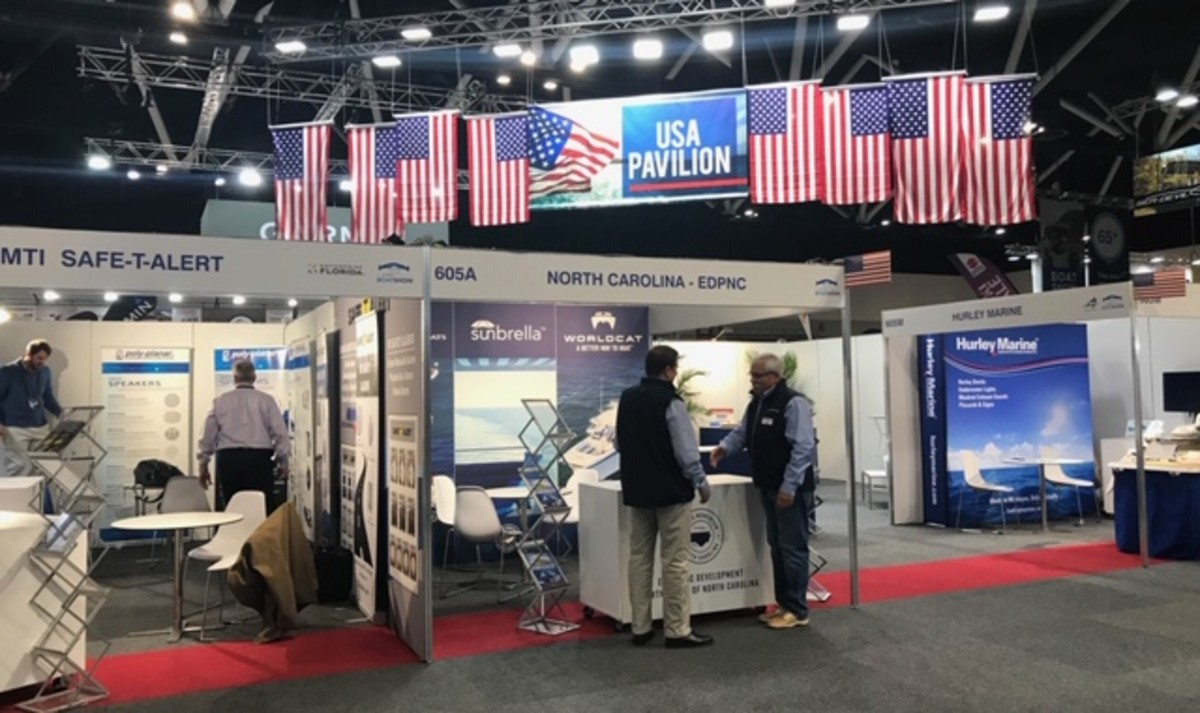 The U.S. Pavilion is the show's largest single-country group, with 15 boat and equipment exhibitors.