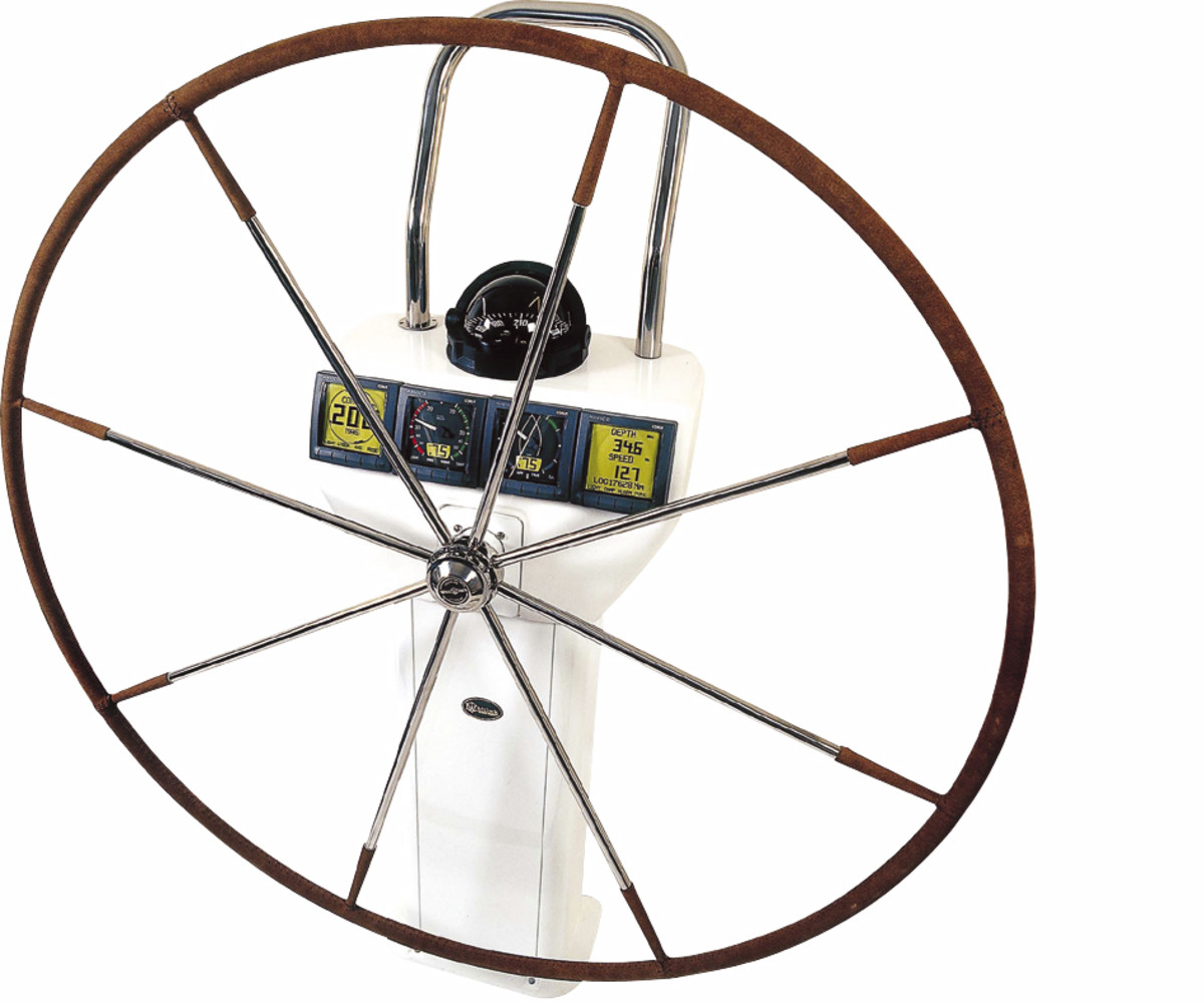 A steering wheel from Lewmar, Lippert's most recent acquisition.