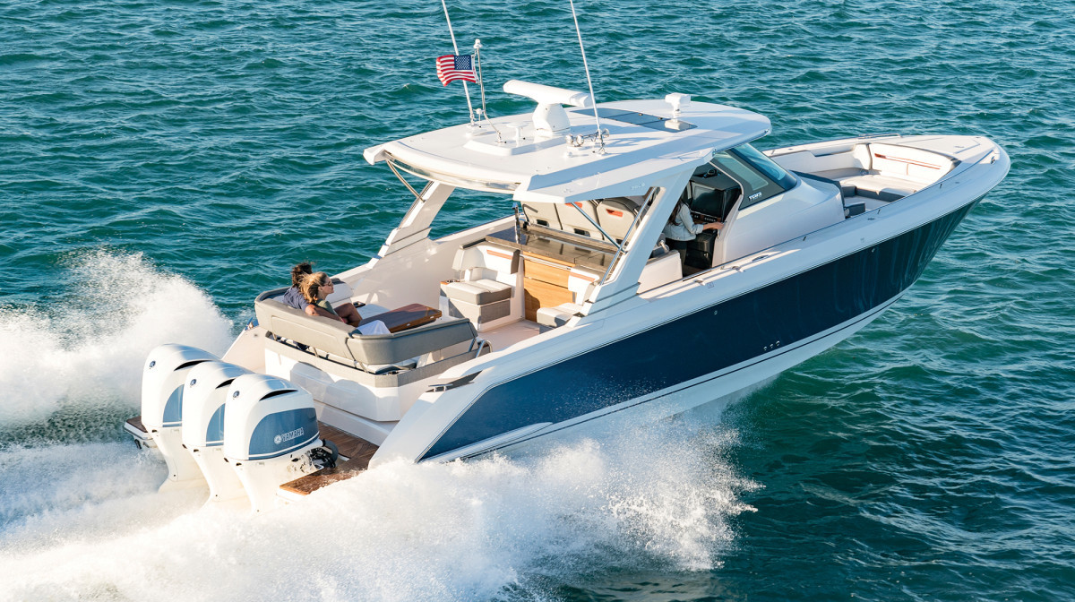 The Tiara Sport 38 LS is one of the company's new outboard-powered models.