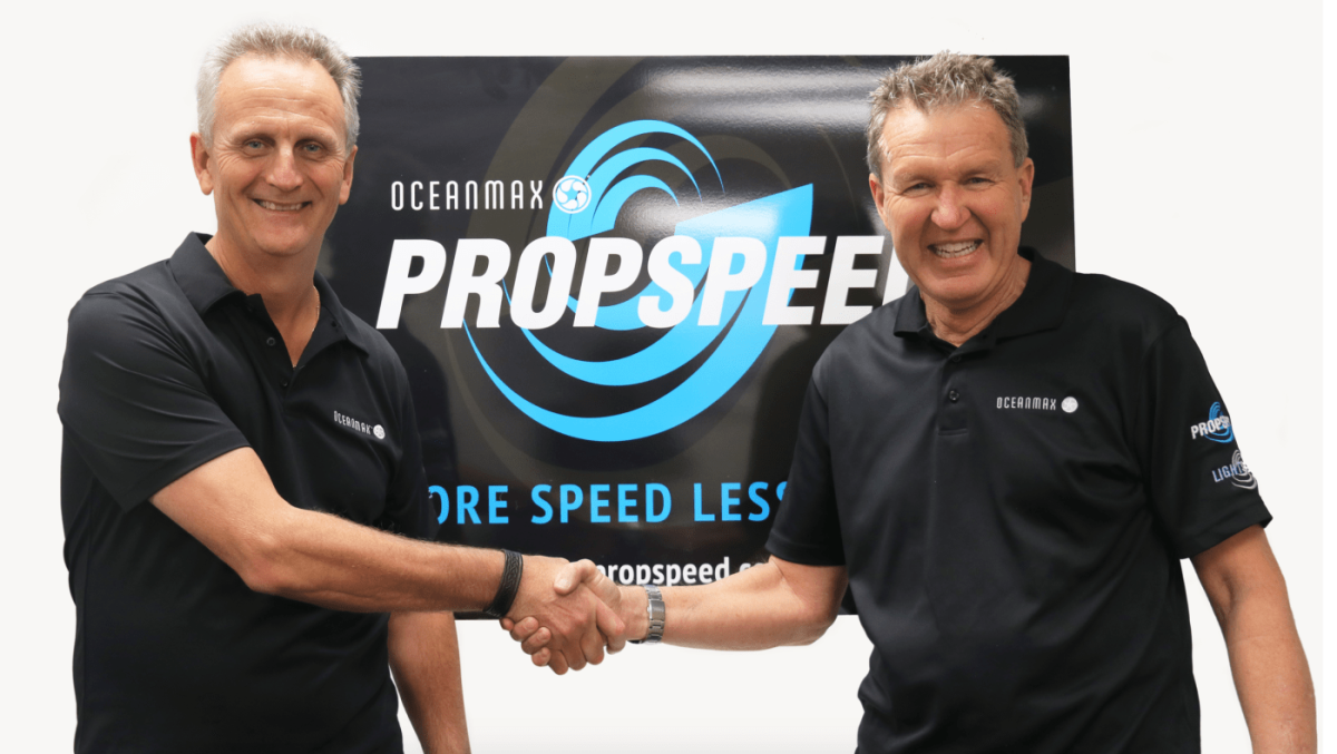 Chris Baird (left) and Clint Jones have swapped CEO positions. The two will work closely to make Oceanmax a global brand in the boating industry.