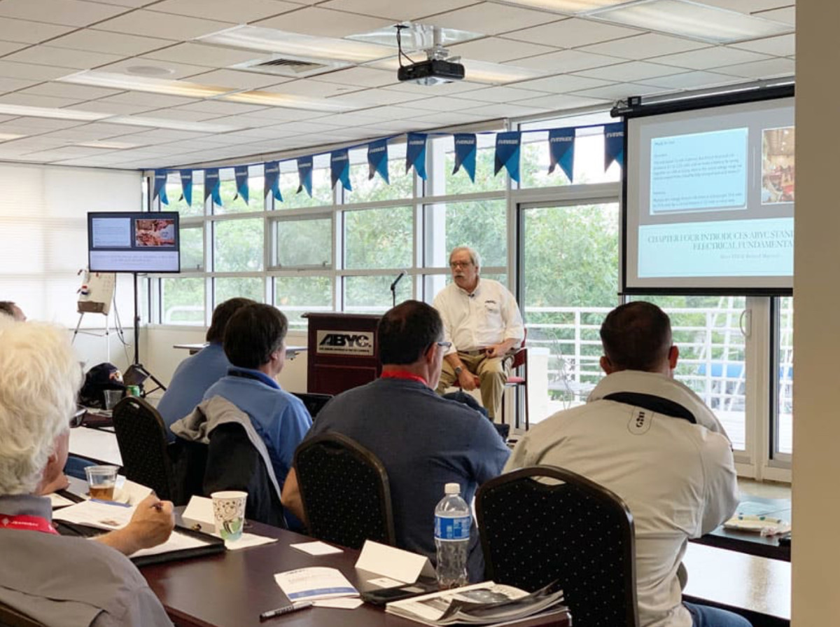 "The Landing School marine systems instructor Josh Mingels attended the ABYC conference to ""instruct the instructors"" last month. Photo by Gary Reich."
