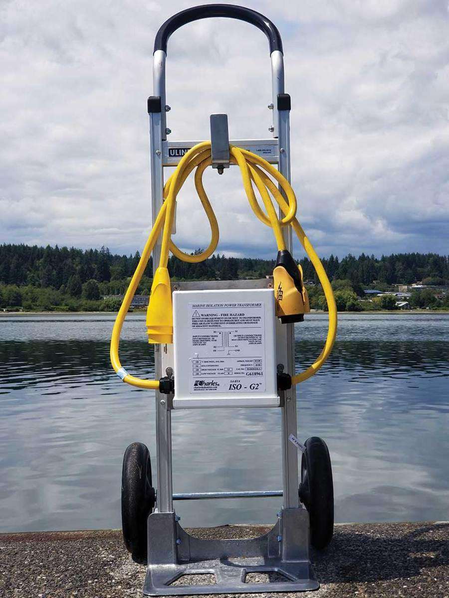 An isolation transformer at Poulsbo Marina lets transient boaters plug in without endangering other vessels.