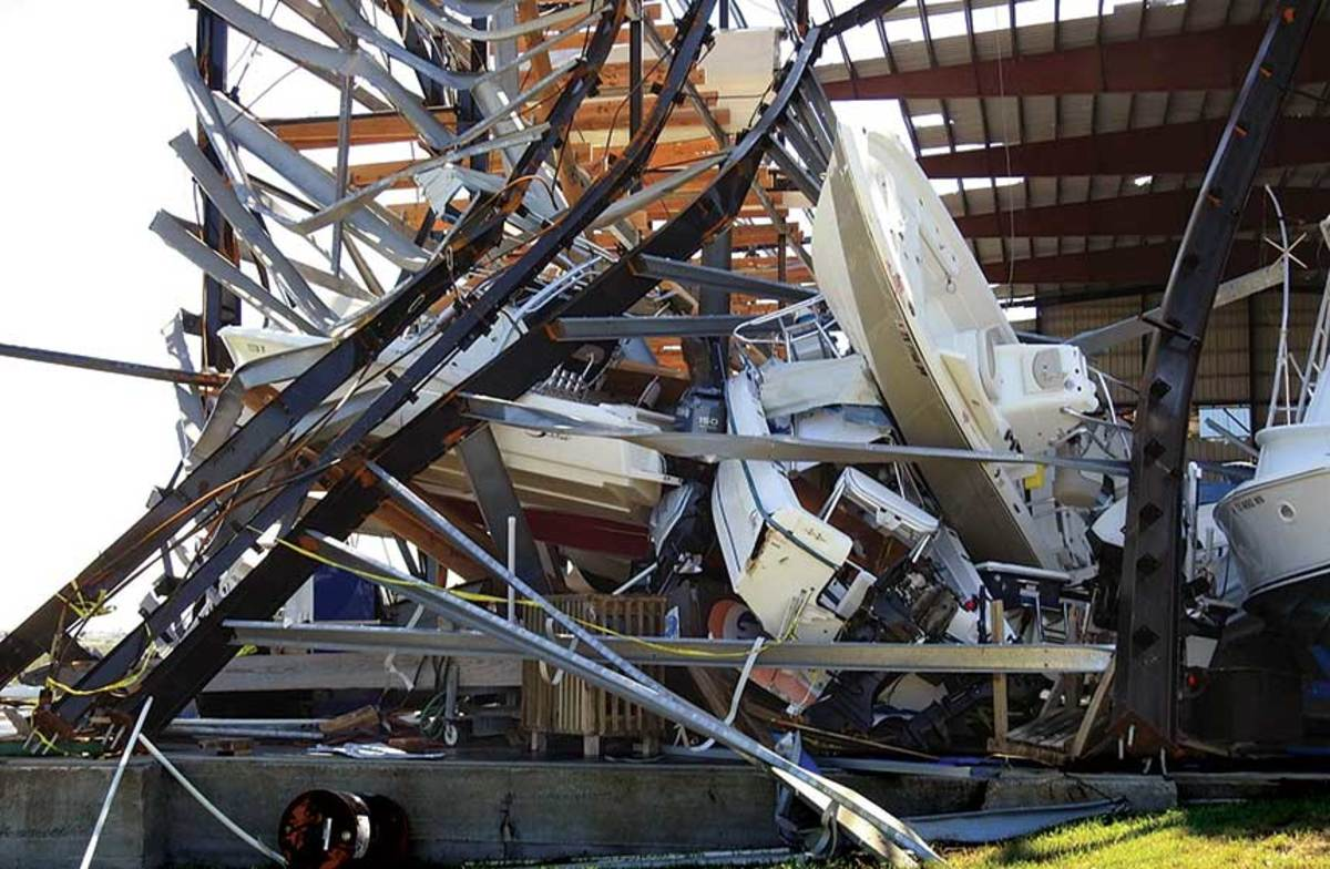 The drystack collapse at Cove Harbor Marina in Rockport, Texas, prompted the owners to install a new building with a higher wind rating.