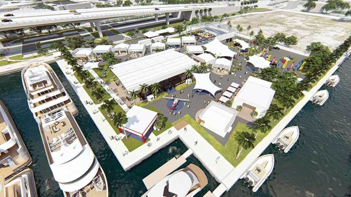 The Superyacht Village will be home to new and brokerage vessels, including the recently launched, 262-foot motoryacht Excellence.