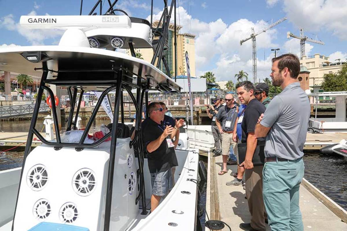Electronics manufacturers, equipment makers and several dozen other exhibitors showcase new products on boats at the docks.