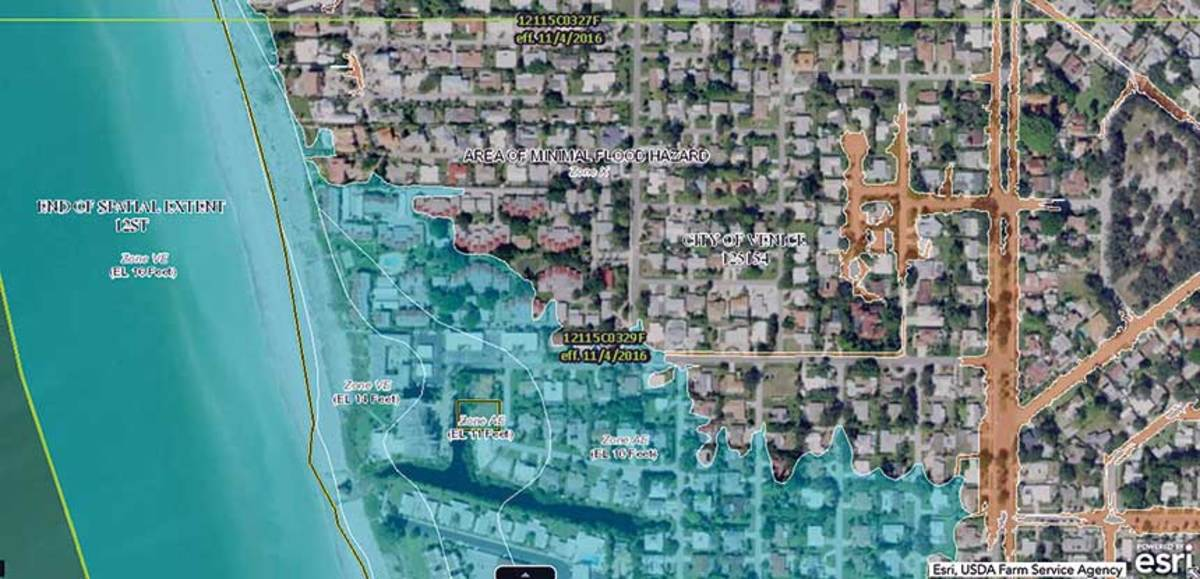 A flood map of Venice, Fla., shows the hazard area.