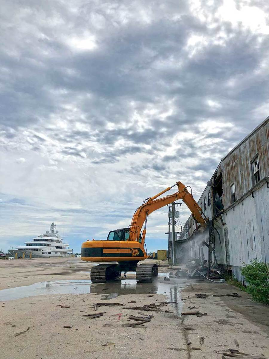 Construction is underway on the facility, which will include new offices, dry docks, 1,500-ton mobile lifts and crew quarters. It will be able to handle yachts over 200 feet.