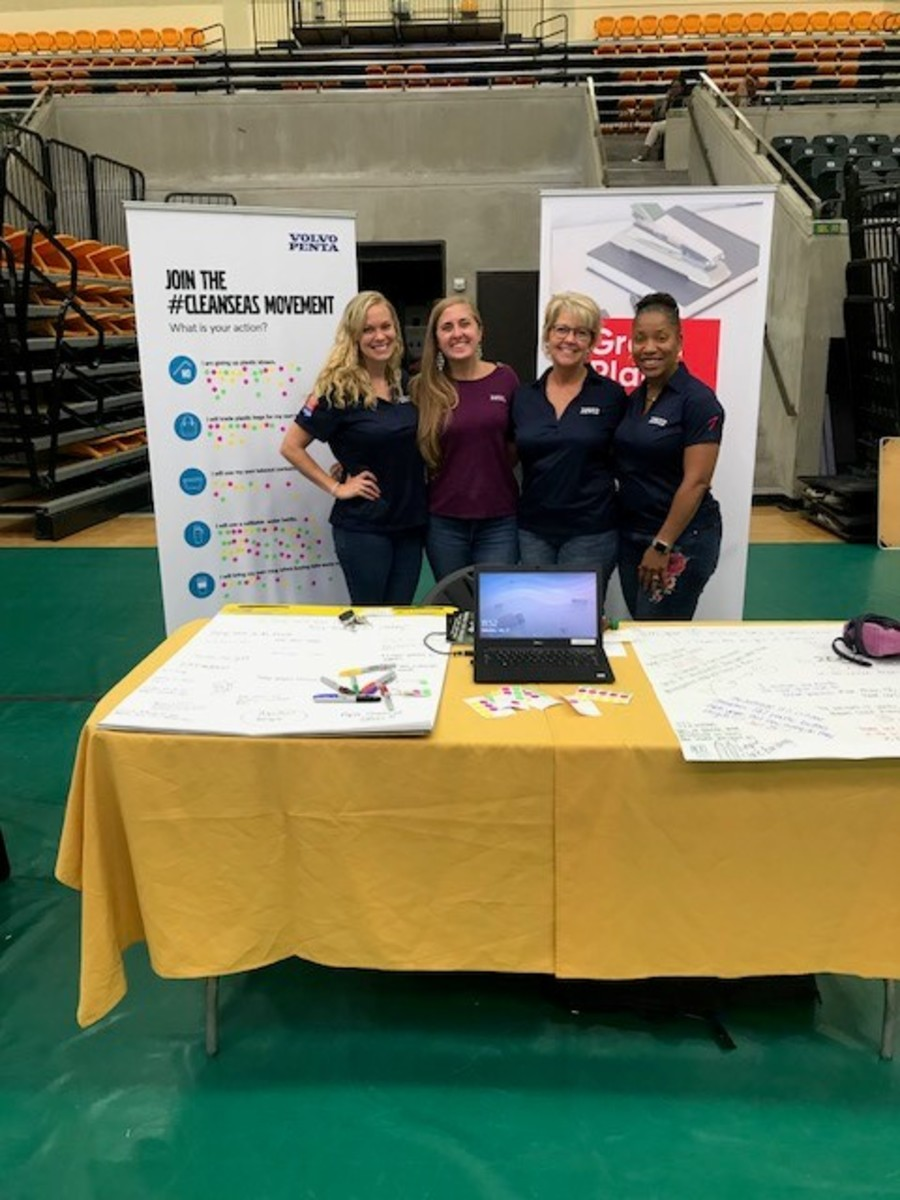The Volvo Penta team and its table at the Reach Foundation's 2019 STEAM Day.