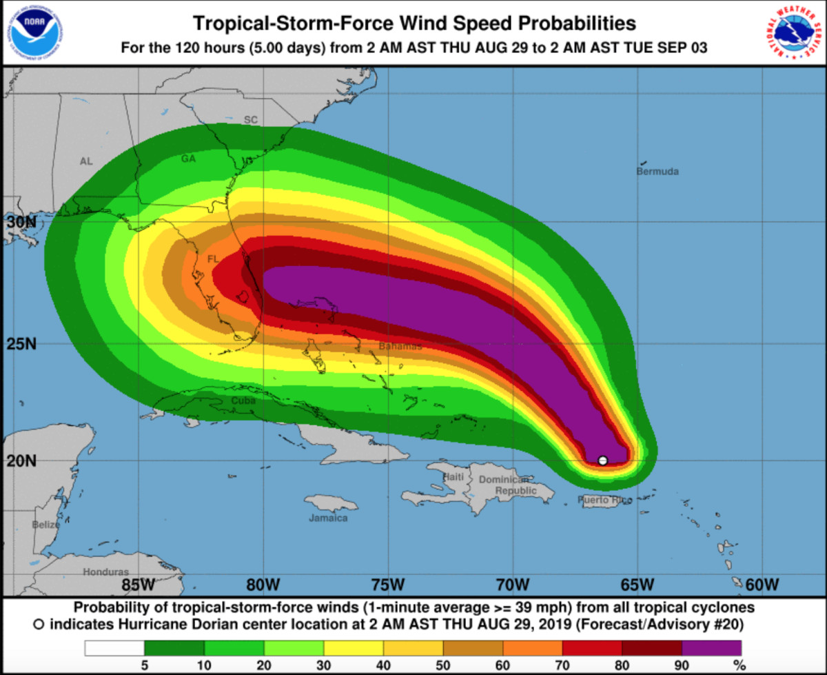 Wind speed probabilities, courtesy of NHC.