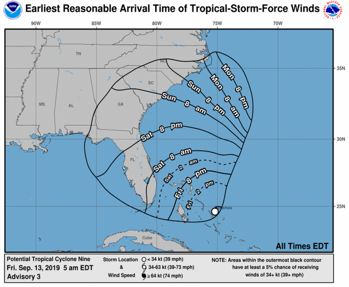 The National Hurricane Center says the tropical storm could hit the Northern Bahamas this afternoon.