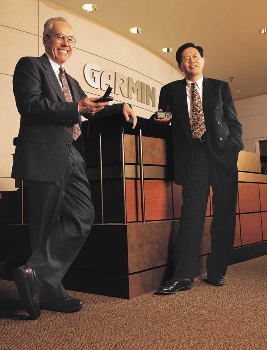 Garmin founders Gary Burrell and Min Kao in 2000.