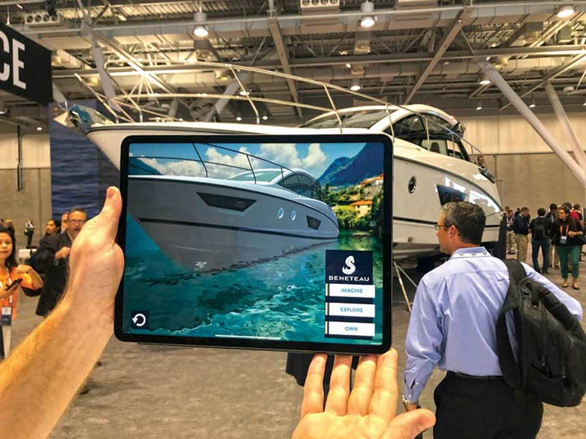 "Virtual-reality software allows potential Beneteau owners to ""see"" boats in new environments at shows."