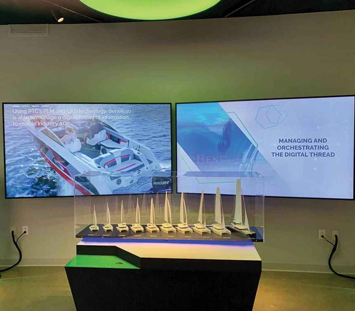 PTC says real-time information via digital threads lets boatbuilders make quick changes to boats and parts during manufacturing.
