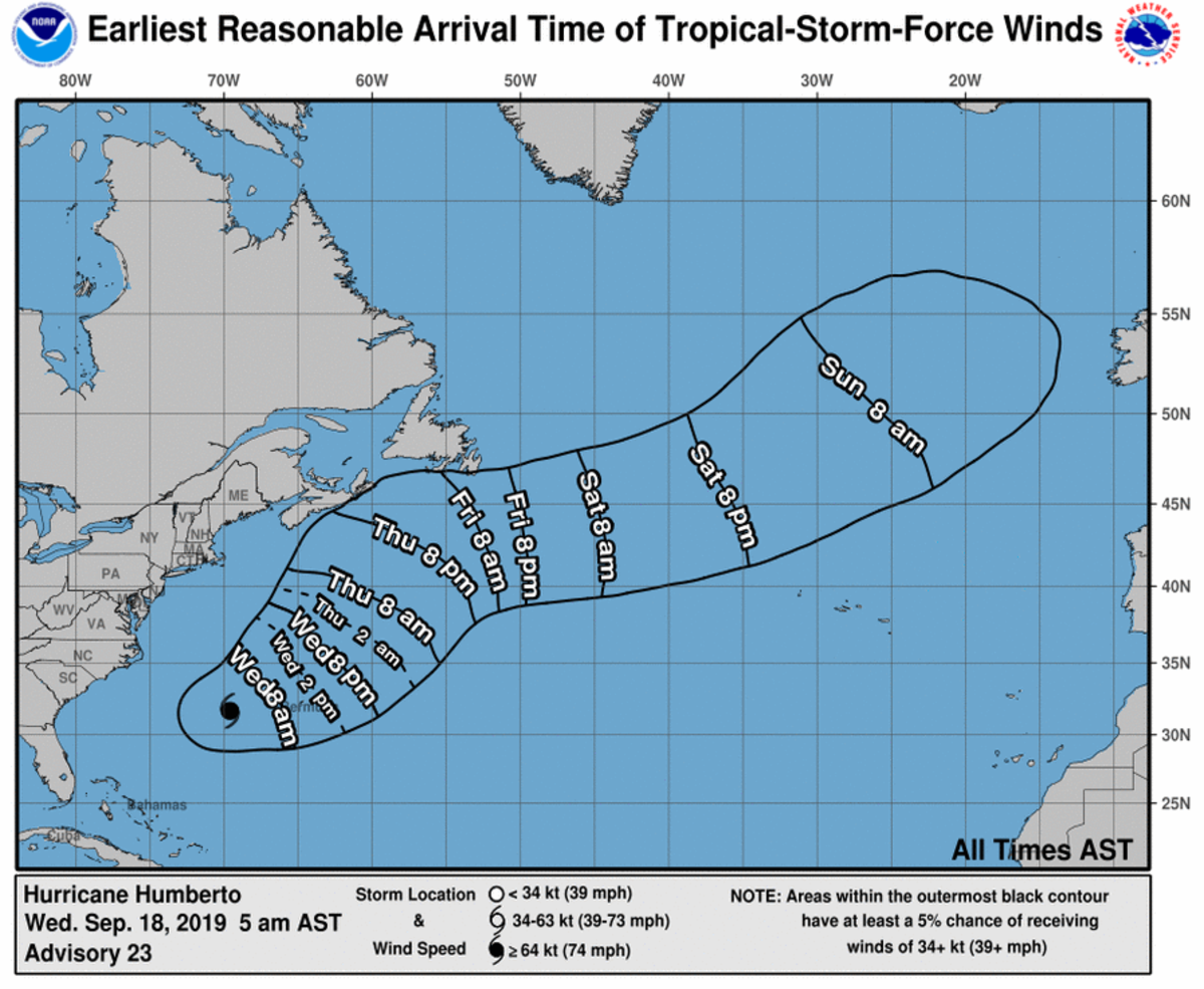Humberto is expected to pass directly over Bermuda today.