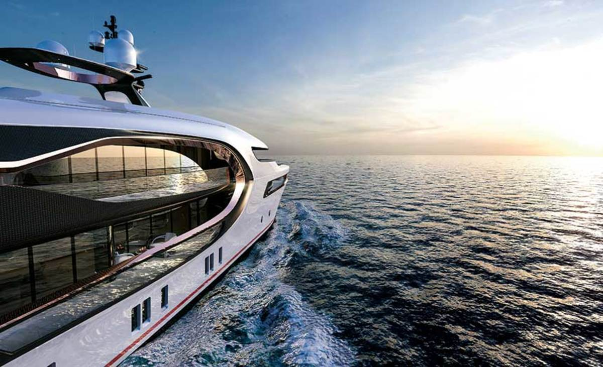 This superyacht concept from Vripack includes side walls of glass and an aft glass deck.
