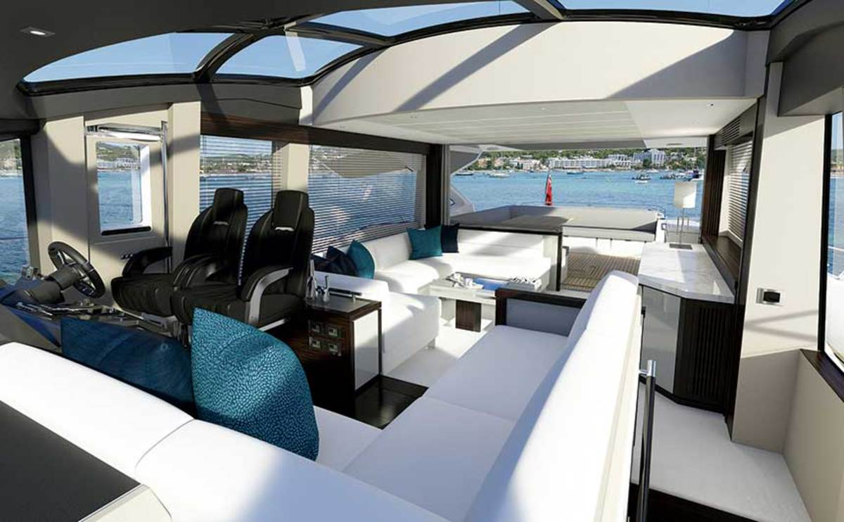 Glass House: Sunseeker's 74 Predator has large windows on all sides and overhead, including the opening sunroof.