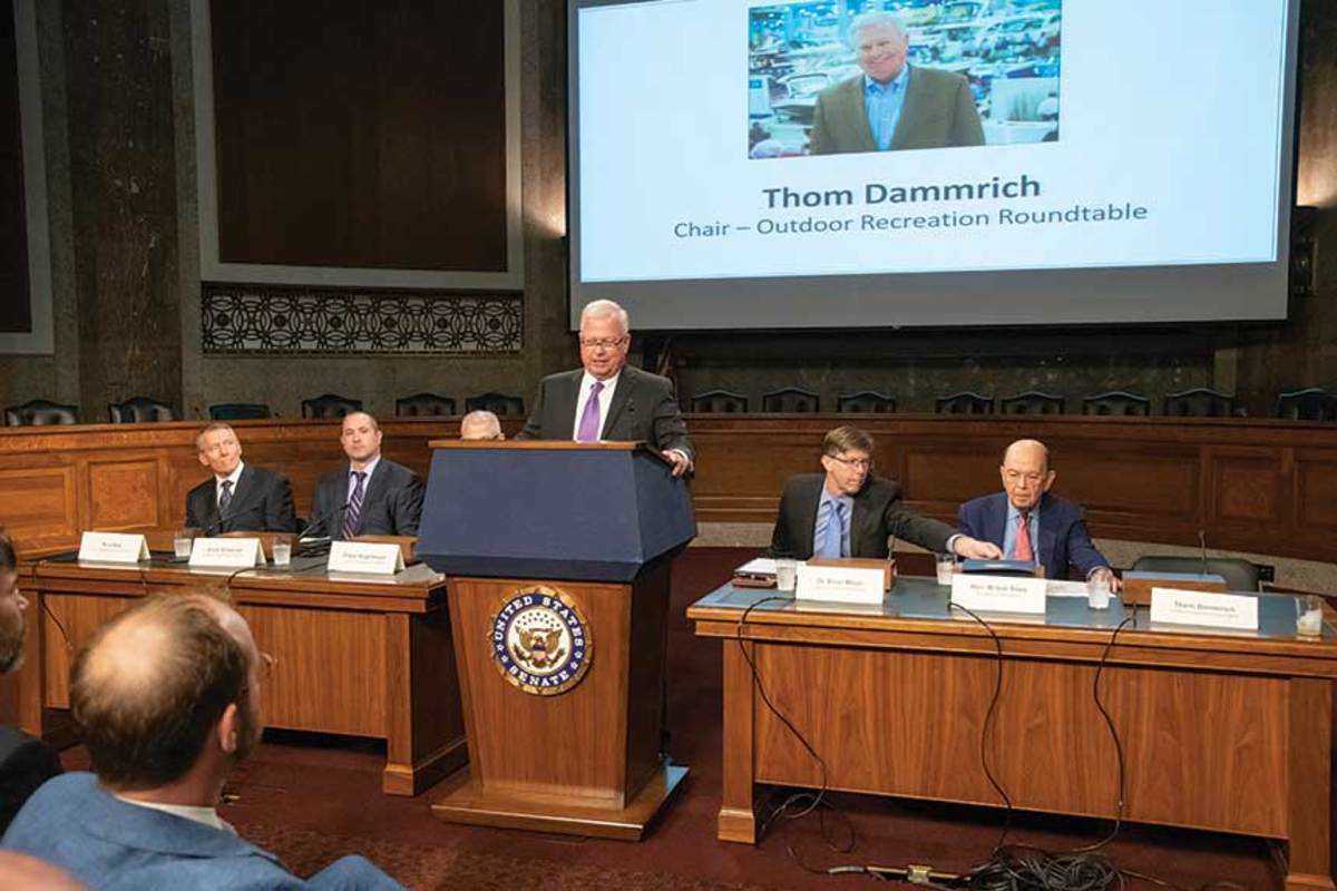 Dammrich, as chairman of the Outdoor Recreation Roundtable, addresses a Senate committee hearing on boating's economic impact.