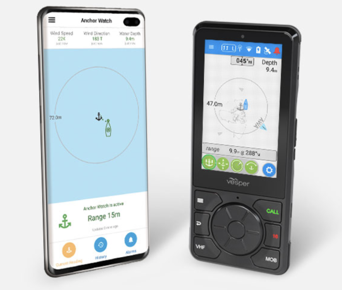 Vesper's Cortex (right) has a familiar shape for smartphone users, with intuitive buttons and functions.