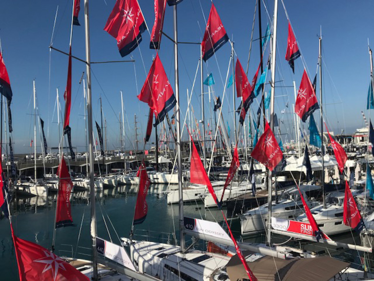 Sailboats remain a mainstay of Italy's national boat show. Credit: Peter Nielsen