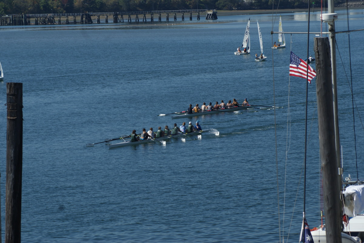 The crew team from the Waynflete School in Portland raced during the event.