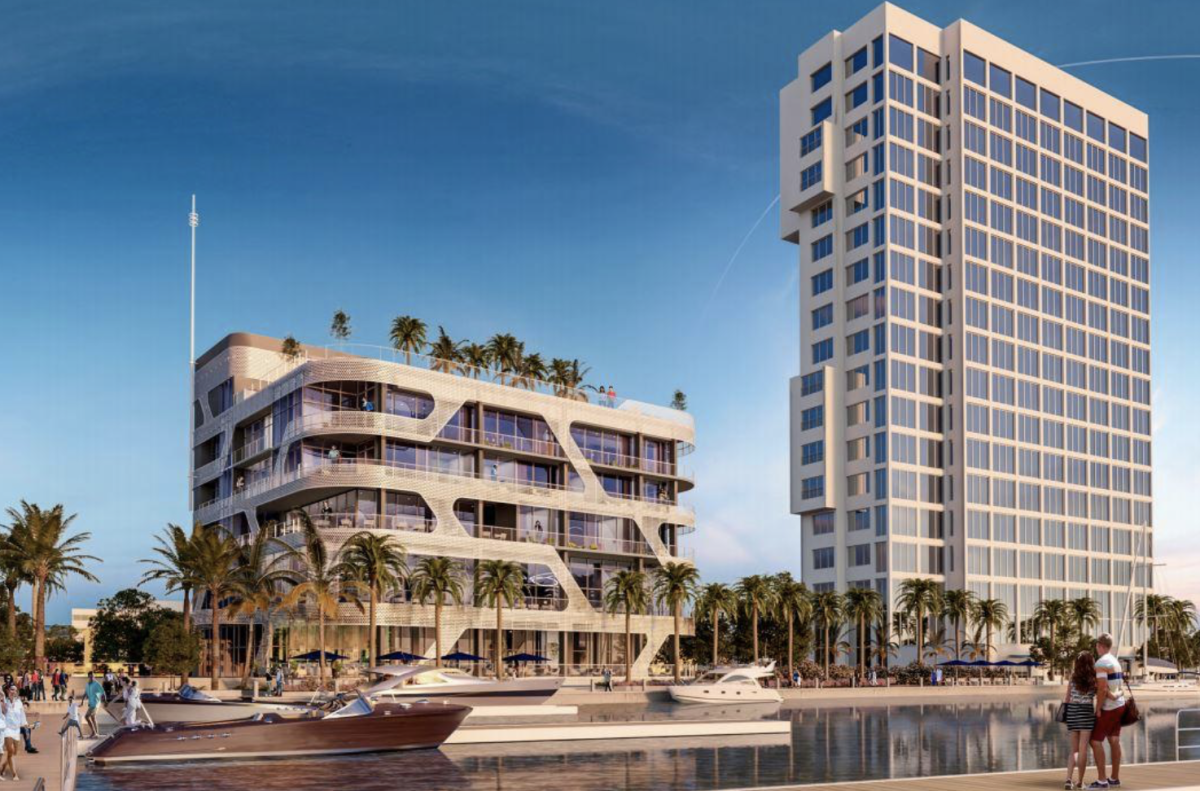 The proposed yacht club and hotel at Palm Harbor Marina in West Palm Beach. PHOTO COURTESY LEISURE RESORTS