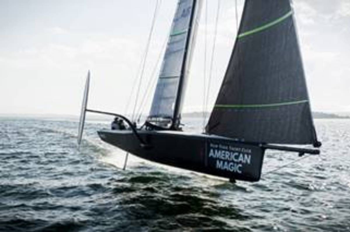 American Magic will use Awlgrip HDT on the hull and Griptex nonskid on deck. Photo by Amory Ross/NYY American Magic.