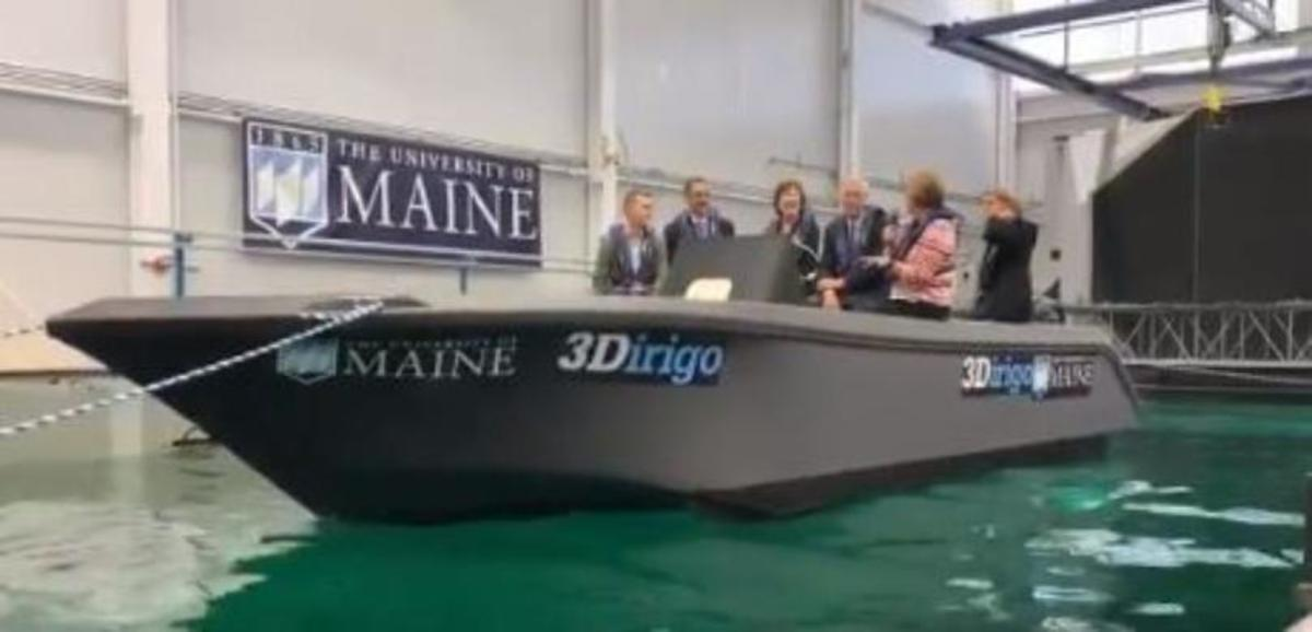 Maine's congressional delegation checks out the boat.