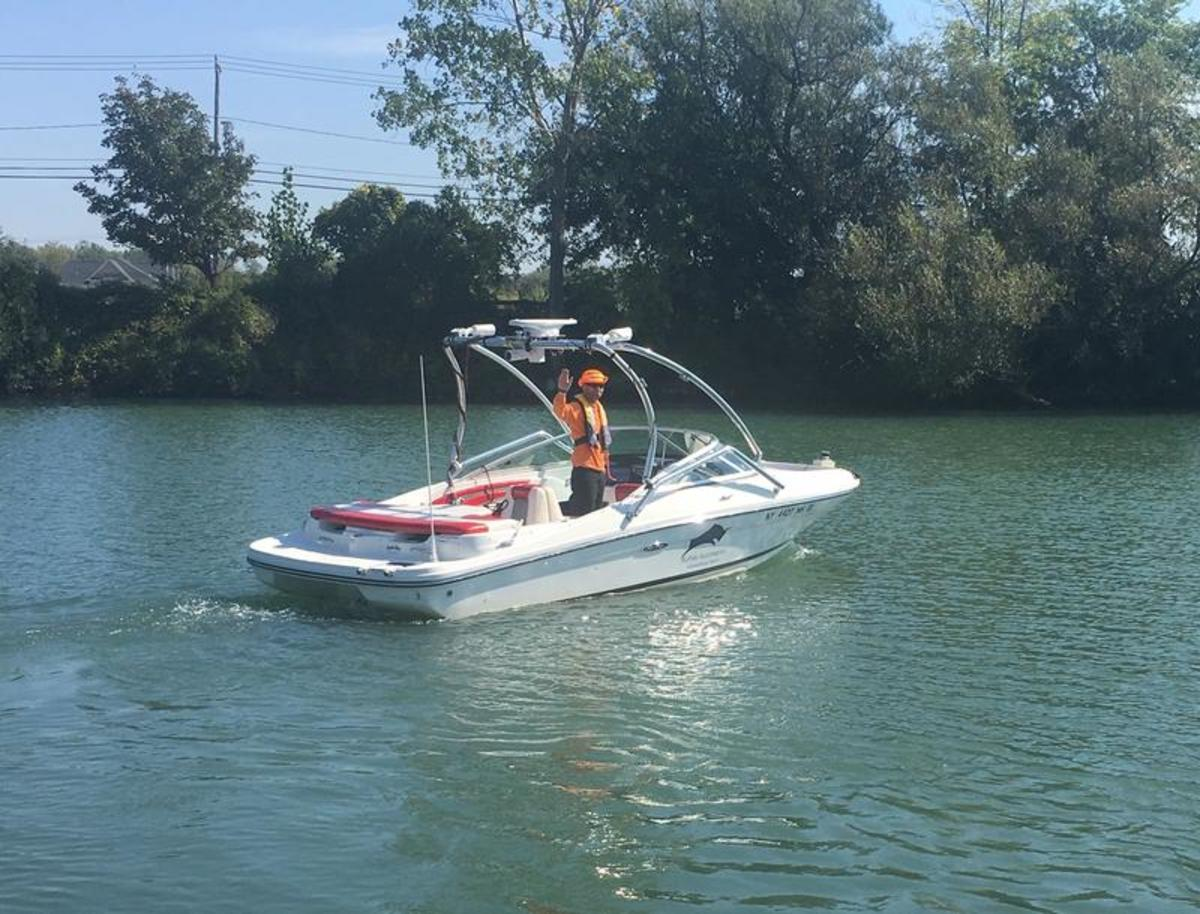The self-driving boat during sea trials. Photo courtesy WBFO News
