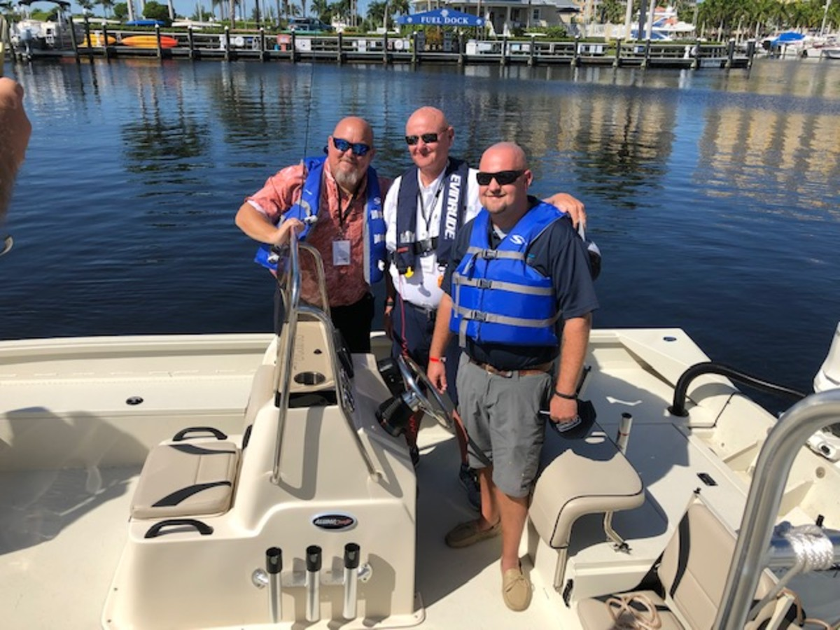 Evinrude dealers attended business sessions about the company's new strategy and then did boat tests between sessions.