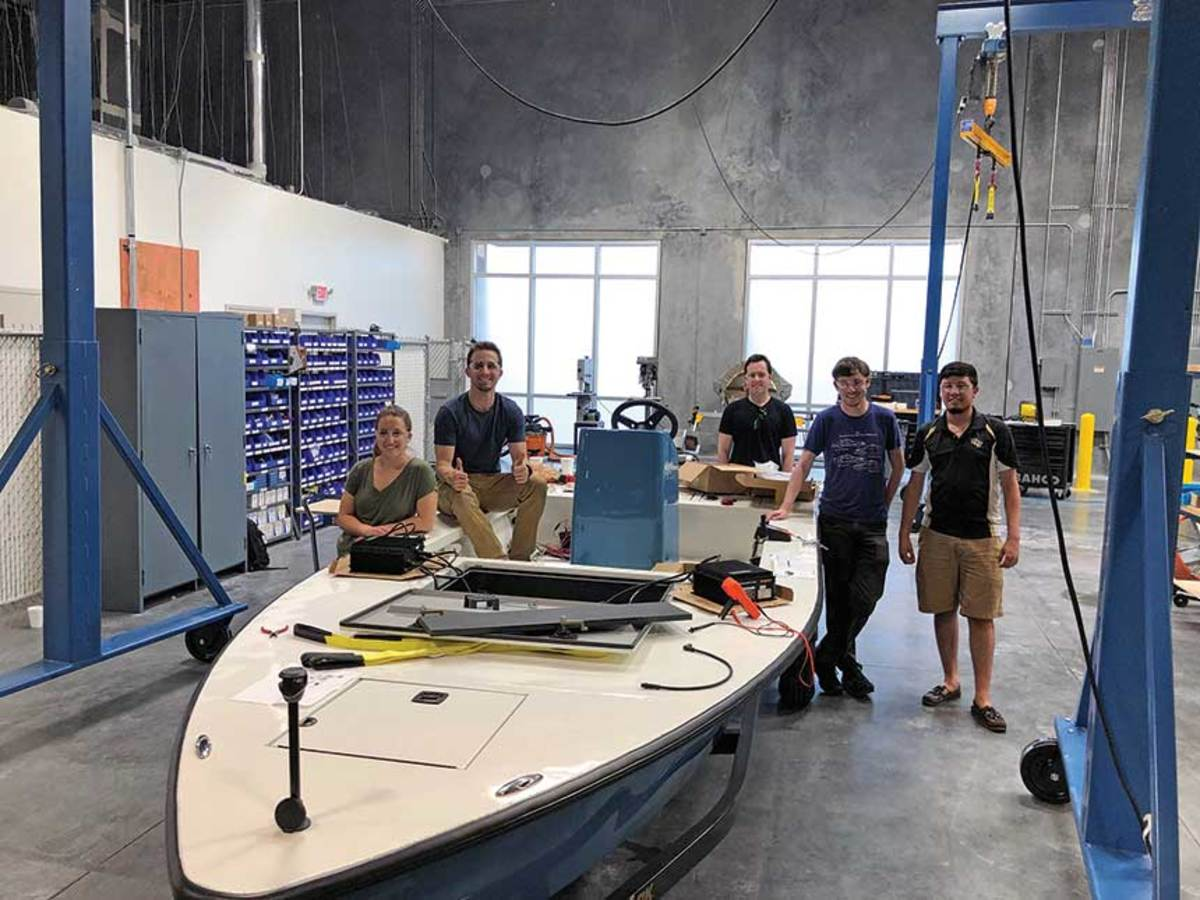 PROBLEM SOLVERS 2.0: Correct Craft's Watershed Innovation collaborated with the University of Central Florida to create a super quiet electric aluminum bay boat. Brunswick's i-Jet Lab is located at the University of Illinois.