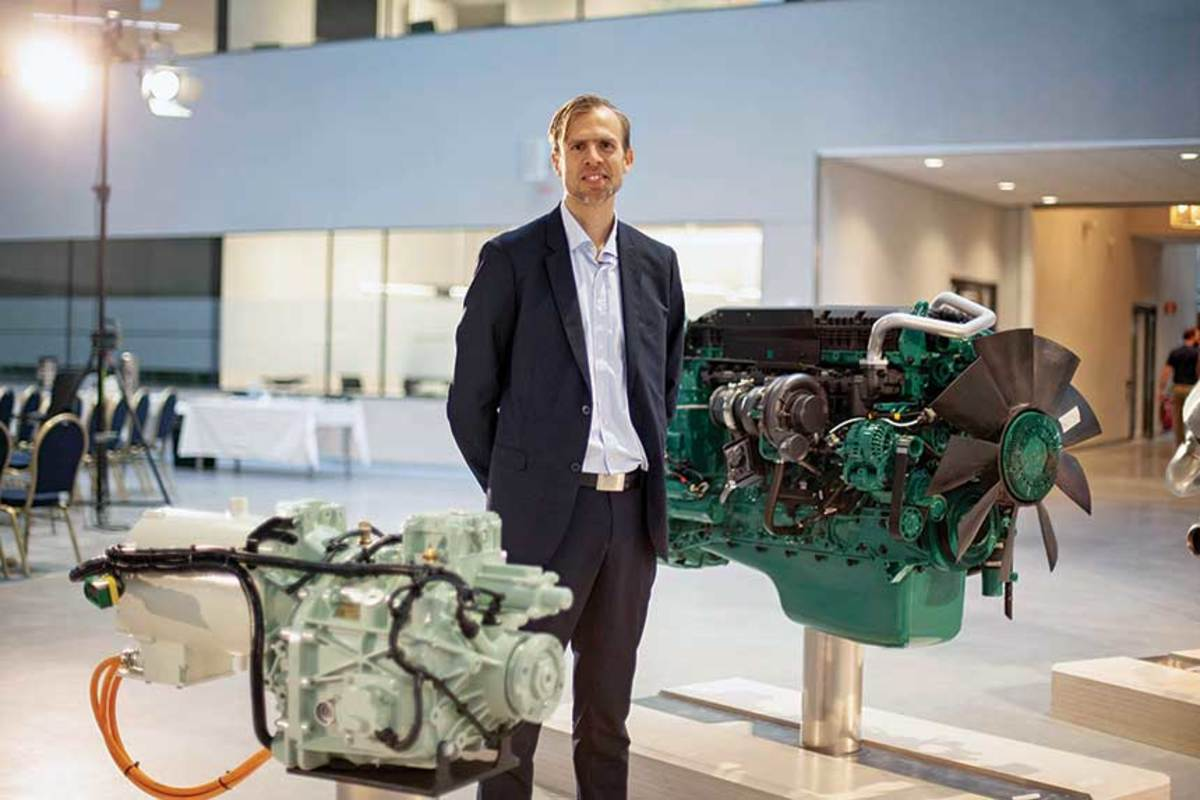 Volvo Penta's chief technology officer Peter Granqvist with an electric driveline.