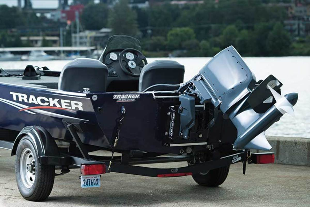 Pure Watercraft designed the battery pack for its electric outboard to fit in the fuel tank compartment of a Tracker Pro 170.
