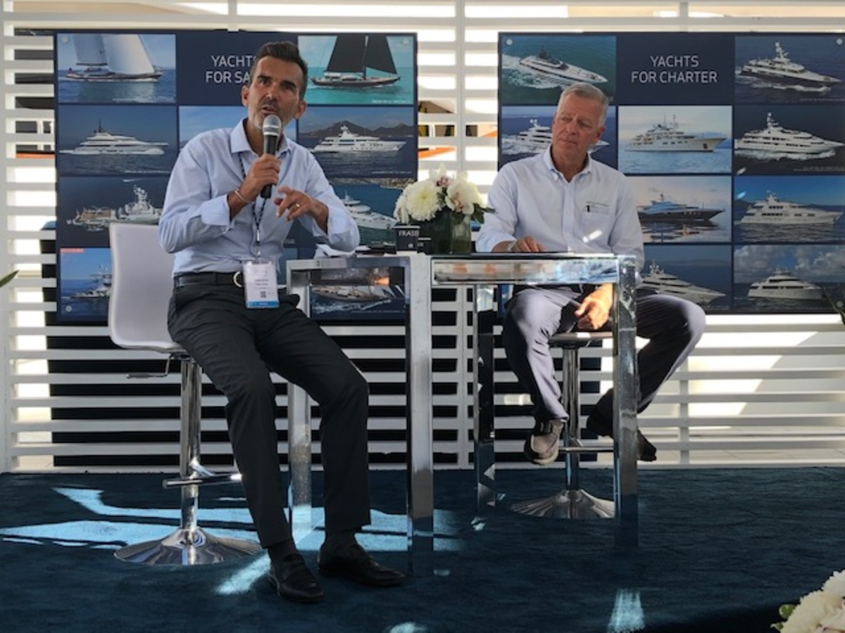 Raphael Sauleau, Fraser CEO (left), and Chuck Cashman, MarineMax chief revenue officer, discuss the Fraser acquisition after three months.