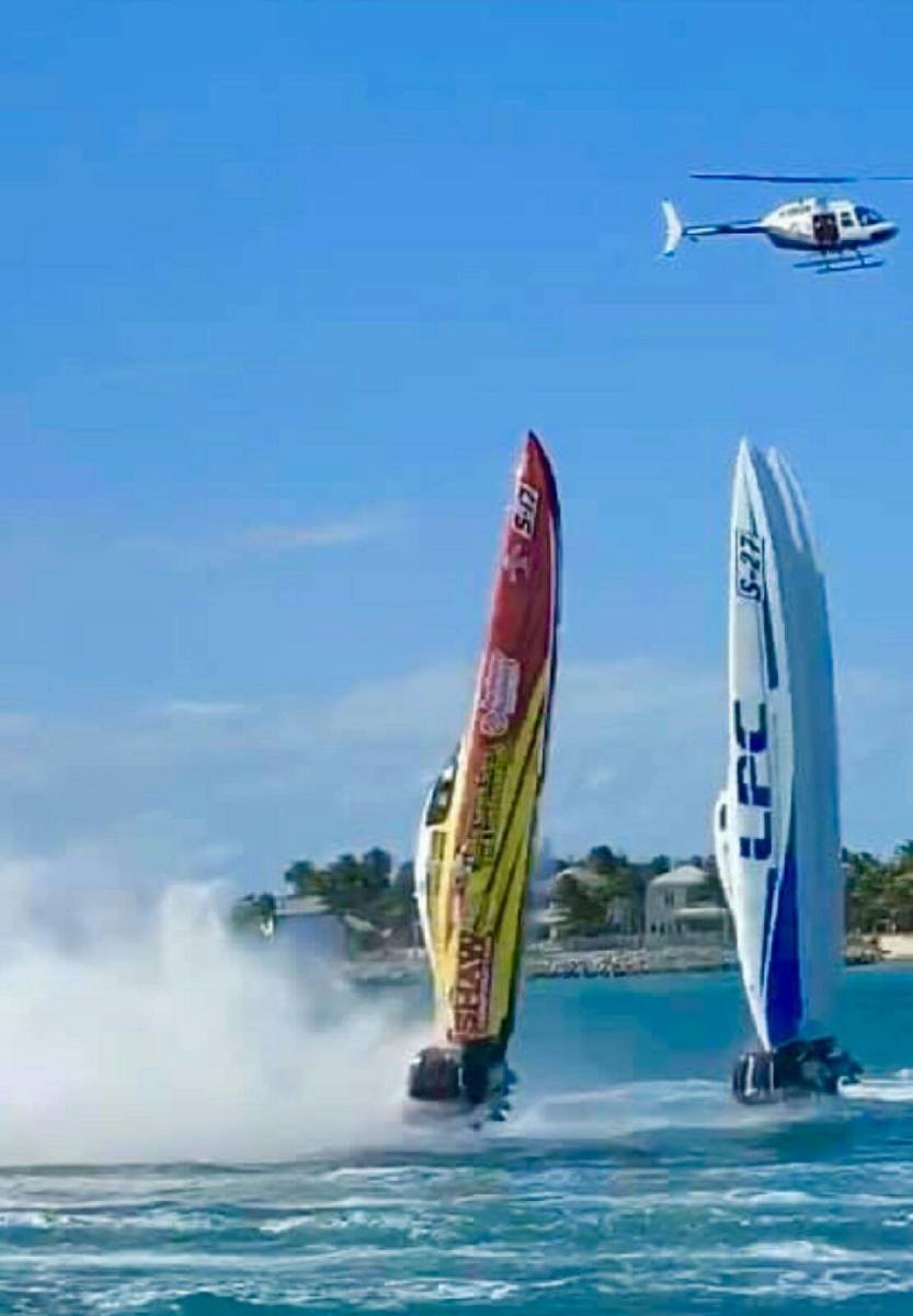 The boats were running close together at more than 100 mph and drafted off each other becoming airborne. Photo courtesy: Hammer Down Boating.