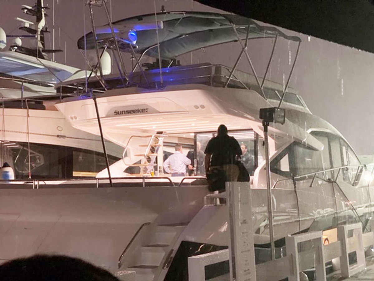 "U.S. Marshalls ""arrest"" a Sunseeker yacht following the Fort Lauderdale International Boat Show. Courtesy Kevin Turner"
