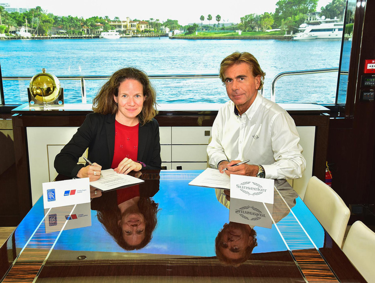 Denise Kurtulus, Head of Marine & Offshore at Rolls-Royce Power Systems (left) with Sunseeker CEO Andrea Frabetti.