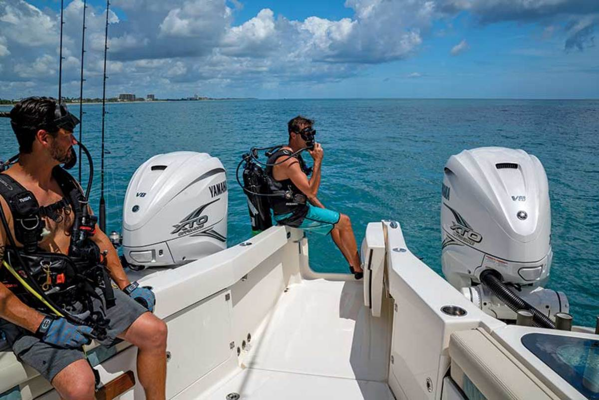 With versatility a major selling point, Solace designers created a boat  where large outboards don't limit access to the stern for such activities as fishing and diving.