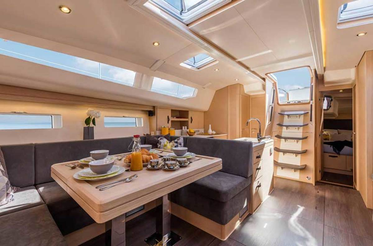 """Winch Design maximized the volume of Jeanneau sailboat interiors to create a """"sense of space"""" (Jeanneau 51, 54 and 64 shown)."""