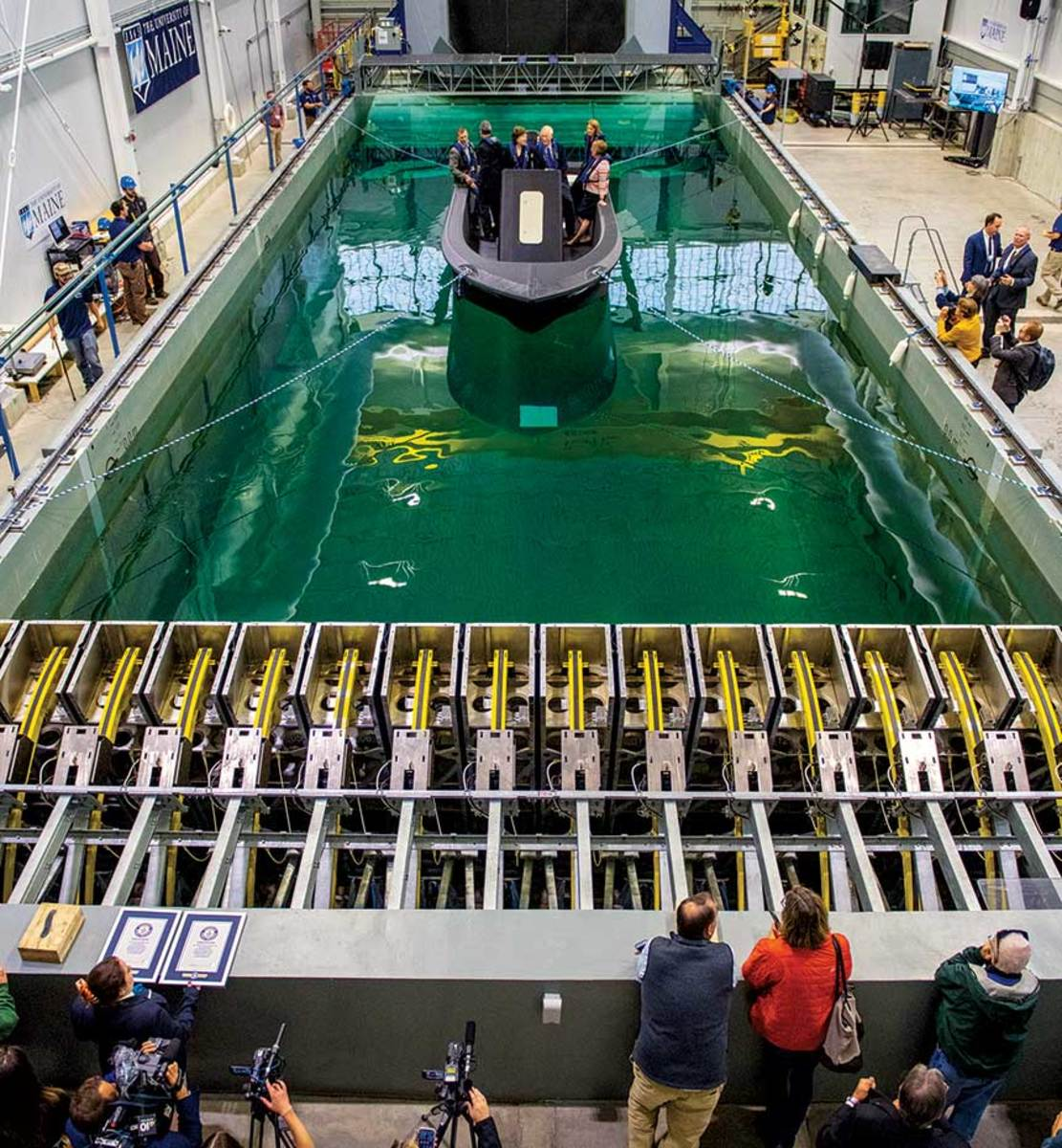 Maine's congressional delegation was on hand for the launching of 3Dirigo in the center's wave tank.