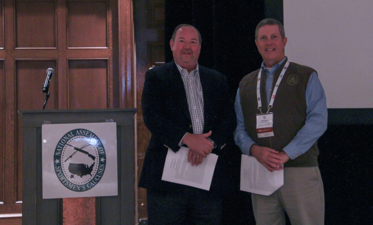 B.A.S.S. CEO Bruce Akin with Jeff Crane, president of the Congressional Sportsmen Foundation.