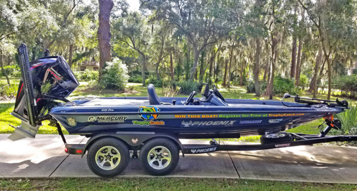Florida anglers are enticed to enter a citizen-science conservation program for a chance to win this Mercury-powered Phoenix Bass Boat.