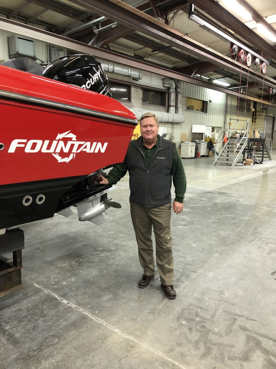 Jeff Harris with a new Fountain 34 Sport Console.