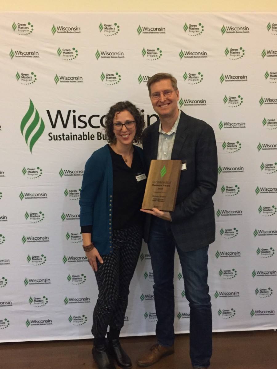Mercury Marine sustainability manager Scott Louks (right) and Jessy Servi Ortiz, managing director of the Wisconsin Sustainable Business Council.