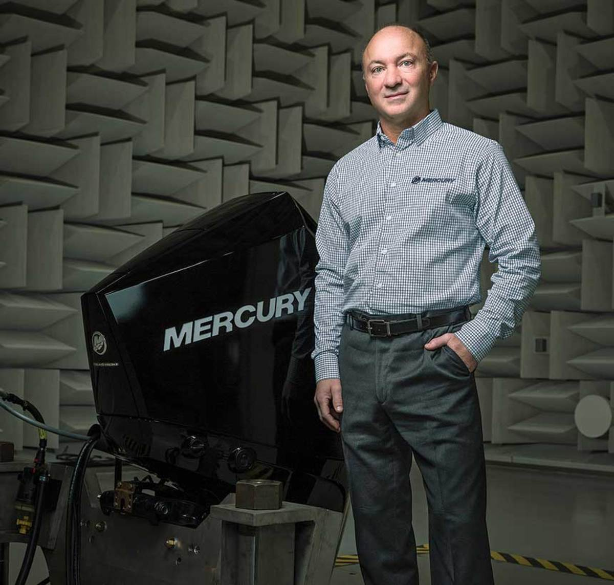 Drees (here in the company's NVH facility) says advances in reduced noise and vibration have helped Mercury gain market share.