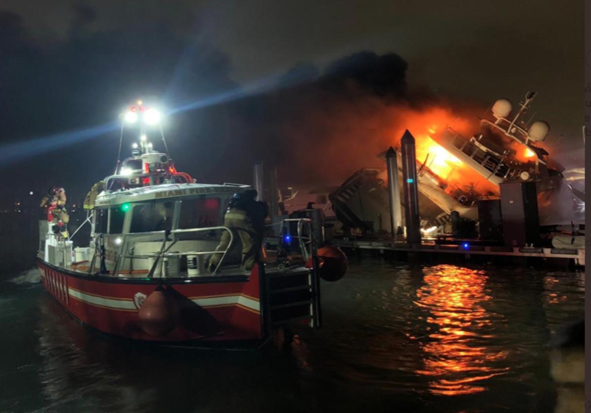 The 120-foot Benetti was berthed at Island Gardens Marina in Miami. Photo courtesy Miami Fire Rescue