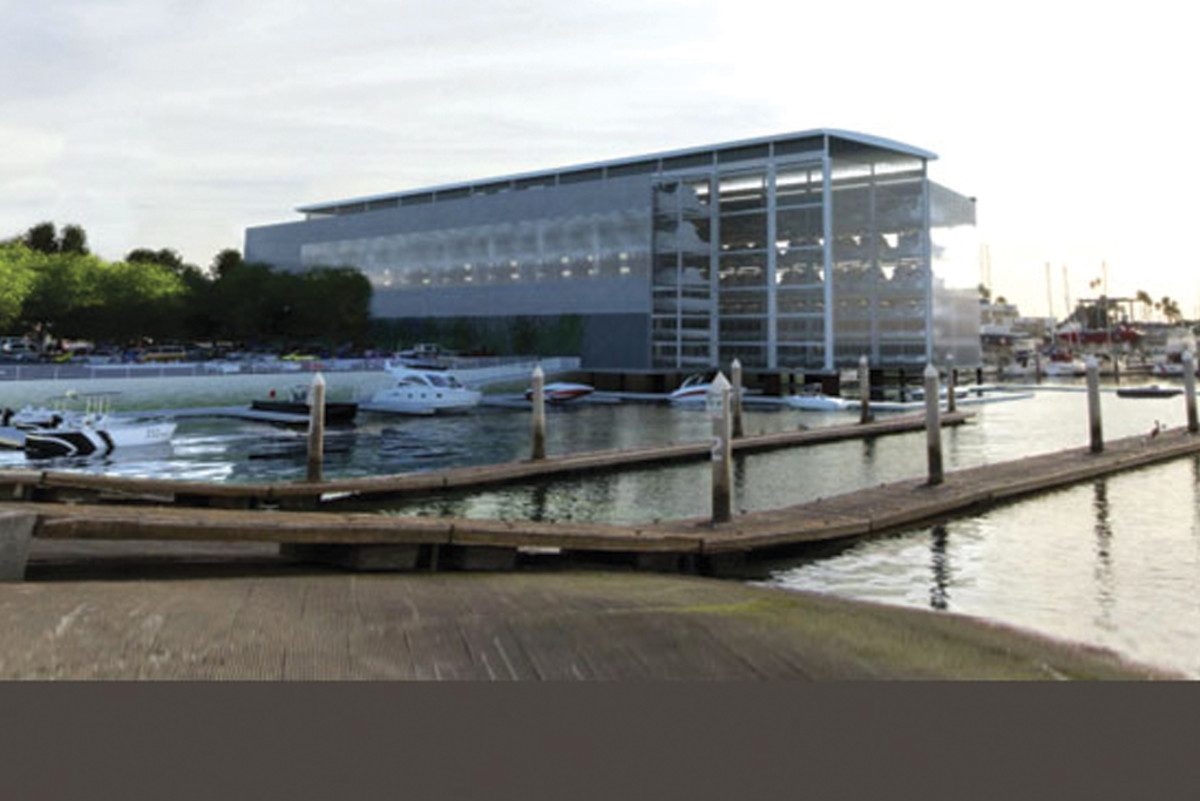 A drystack facility in Marina del Rey, Calif., sits idle while the lawsuit runs its course.