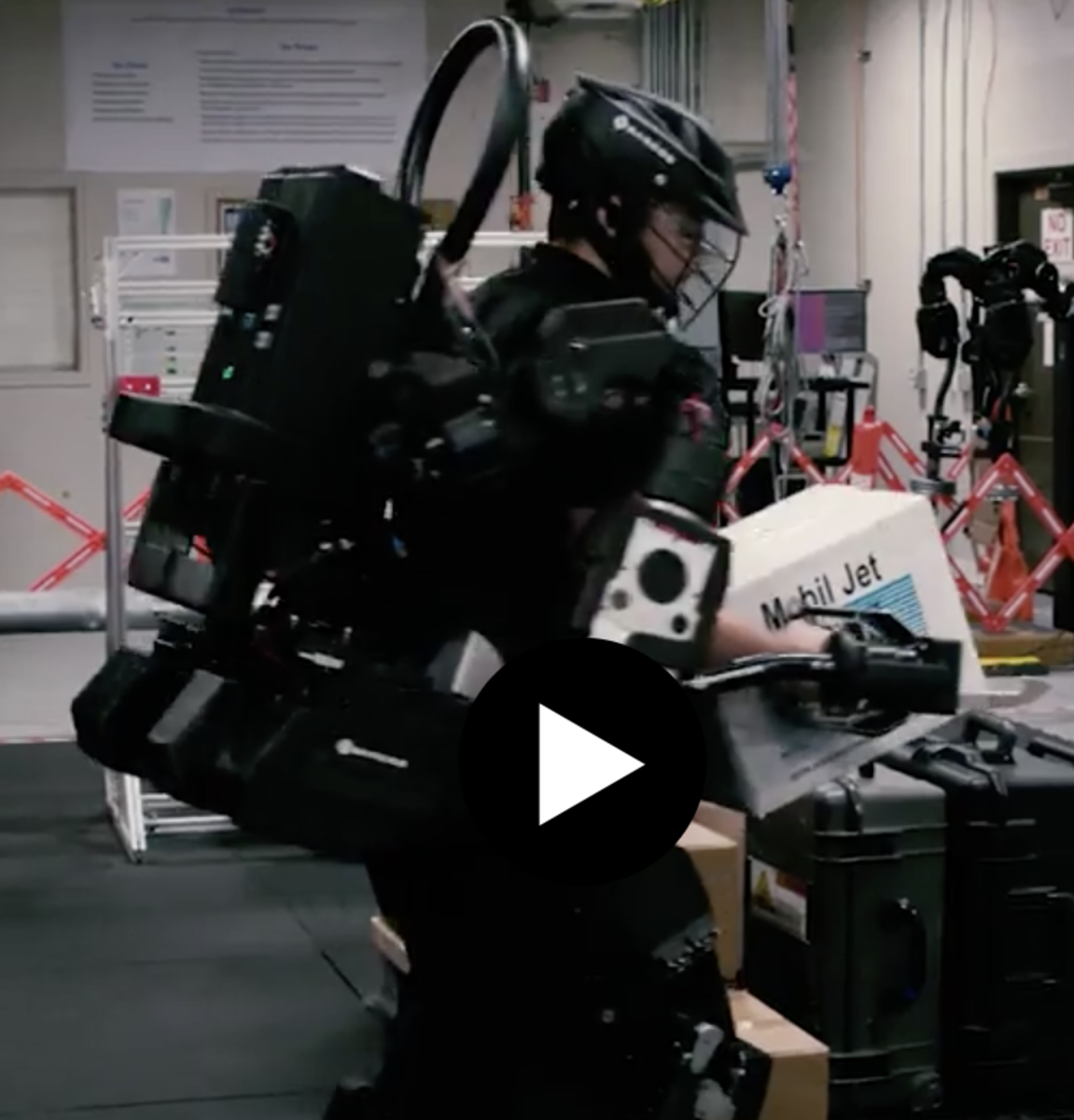 The Sarcos exoskeleton can be worn like a backpack, but allows the wearer to carry up to 200 lbs.